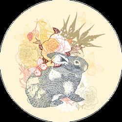 Illustration Of A Grey Rabbit, Floral Sticker