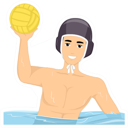 Illustration Of A Guy Playing Water Polo Sticker