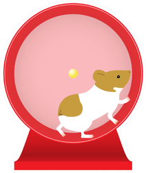 Illustration Of A Hamster Playing In A Wheel Sticker