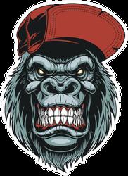 Illustration Of A Happy Gorilla Head Sticker
