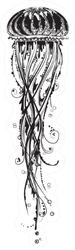 Illustration Of A Jellyfish In Black And White Graphic Style Sticker