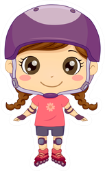 Illustration Of A Kid Girl Rollerblading Sticker