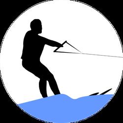 Illustration Of A Man Making Water Ski Sticker