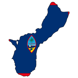 Illustration Of A Map And Flag From Guam Sticker