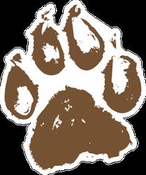 Illustration Of A Muddy Dog Paw Print Sticker