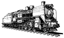 Illustration Of A Old Steam Locomotive Stylized As Engraving Sticker