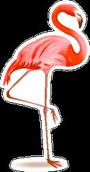 Illustration Of A Pink Flamingo Sticker