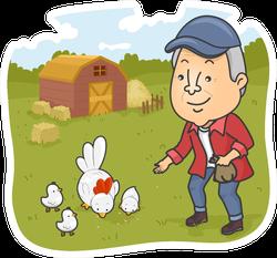 Illustration Of A Senior Citizen Feeding Chickens Sticker