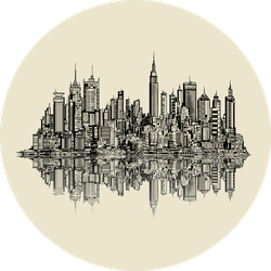 Illustration Of A Sketch Of New York Mirrored Style Sticker