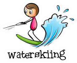 Illustration Of A Stick Man Water Skiing Text Sticker