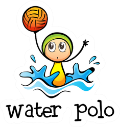 Illustration Of A Stickman Playing Water Polo Sticker