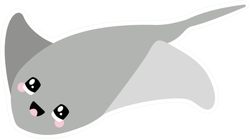 Illustration Of A Stingray With A Cute Face Sticker