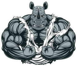 Illustration Of A Strong Rhino With Big Biceps Sticker