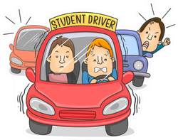 Illustration Of A Student Driver Car With Instructor Sticker