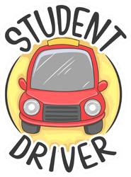 Illustration Of A Student Driver With A Red Car Sticker