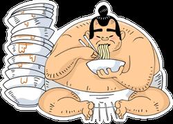 Illustration Of A Sumo Wrestler Sitting Beside Ramen Bowls Sticker