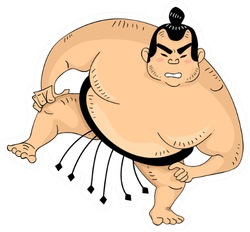 Illustration Of A Sumo Wrestler With One Leg Raised Sticker