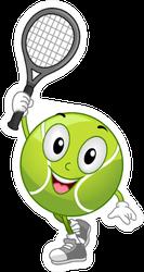 Illustration Of A Tennis Ball Holding A Racket Sticker