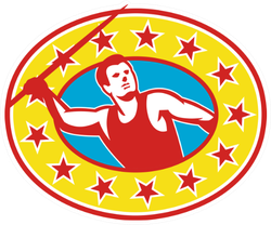 Illustration Of A Track And Field Athlete Javelin Throw Sticker