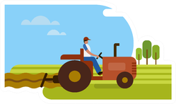 Illustration Of A Tractor In The Agricultural Field Sticker