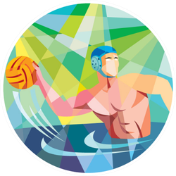 Illustration Of A Water Polo Player Circle Sticker
