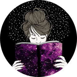 Illustration Of A Young Woman Holding A Book Universe Sticker