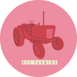 Illustration Of An Agricultural Tractor Pink Retro Sticker