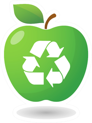 Illustration Of An Isolated Apple Icon With A Recycle Icon Sticker