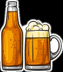 Illustration Of Beer Mug And Bottle Sticker