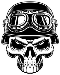 Illustration Of Biker Skull Isolated On Dark Background Sticker
