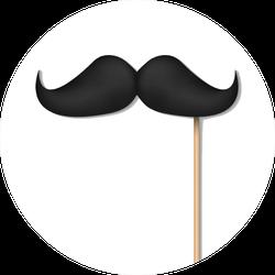 Illustration Of Black Mustache On Plastic Stick Sticker