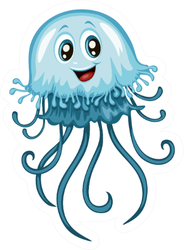 Illustration Of Blue Happy Jellyfish Sticker