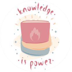 "Illustration Of Book In Hands ""knowledge Is Power"" Sticker"