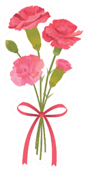 Illustration Of Carnation Bouquet With Bow Sticker