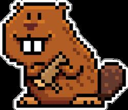 Illustration Of Cartoon Beaver - Pixel Design Sticker