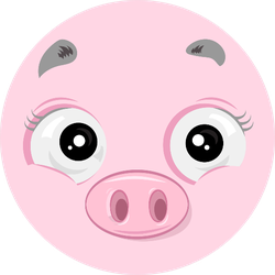 Illustration Of Cheerful Happy Pig Face Sticker