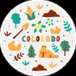 Illustration Of Colorado State Symbols Sticker