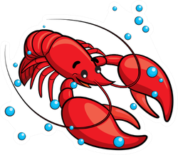 Illustration Of Cute Cartoon Lobster With Bubbles Sticker
