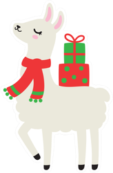 Illustration Of Cute Holiday Llama Sticker
