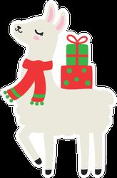 Illustration Of Cute Holiday Llama Sticker