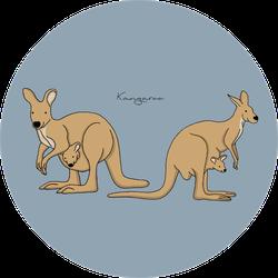 Illustration Of Cute Kangaroos On Blue Sticker