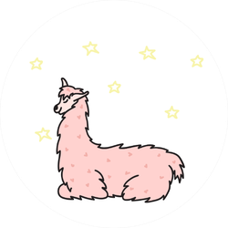 Illustration Of Cute Pink Llama Sticker