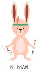 """Illustration Of Cute Rabbit With Arrow """"Be Brave"""" Sticker"""