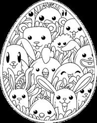 Illustration Of Easter Egg Cute Cartoon Elements Sticker