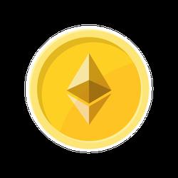 Illustration of Ethereum Coin Sticker