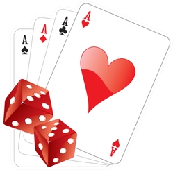 Illustration Of Four Aces With Two Dice Sticker