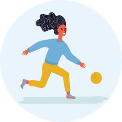Illustration Of Girl Throwing Bowling Ball Sticker