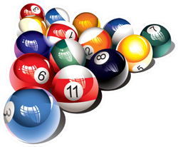 Illustration of Glossy Billiard Balls Set Sticker