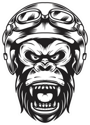 Illustration Of Gorilla Helmet For Motorcycle Sticker
