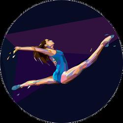 Illustration Of Gymnast Girl Jumping Sticker